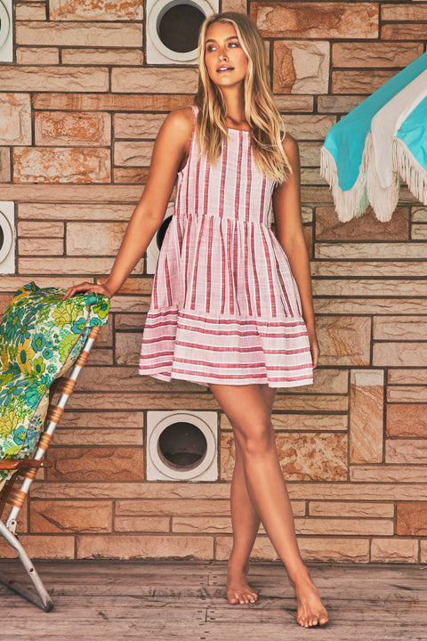 Olivia Dress In Pink Stripe