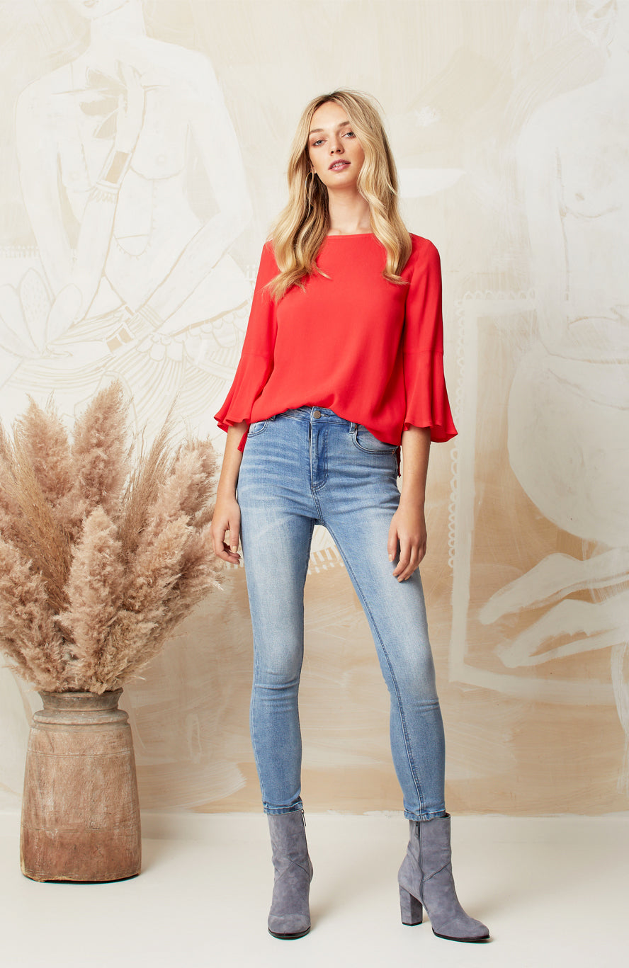 RED PEGGY TOP