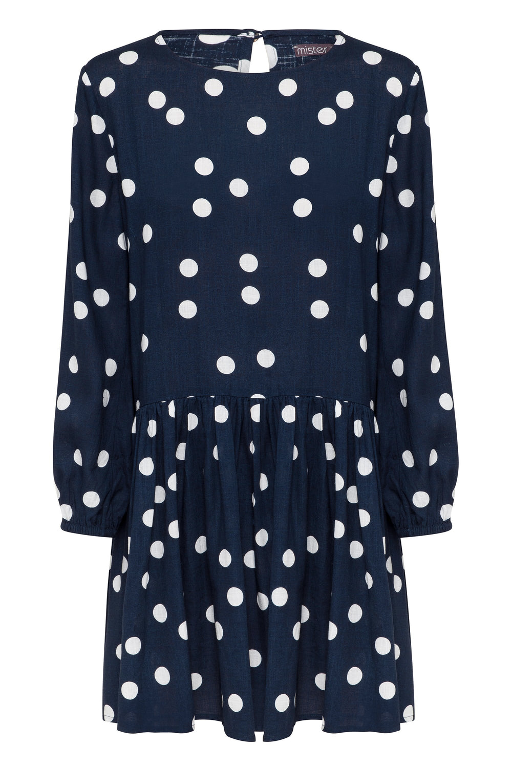 Elsa Linen Dress In Navy Spot