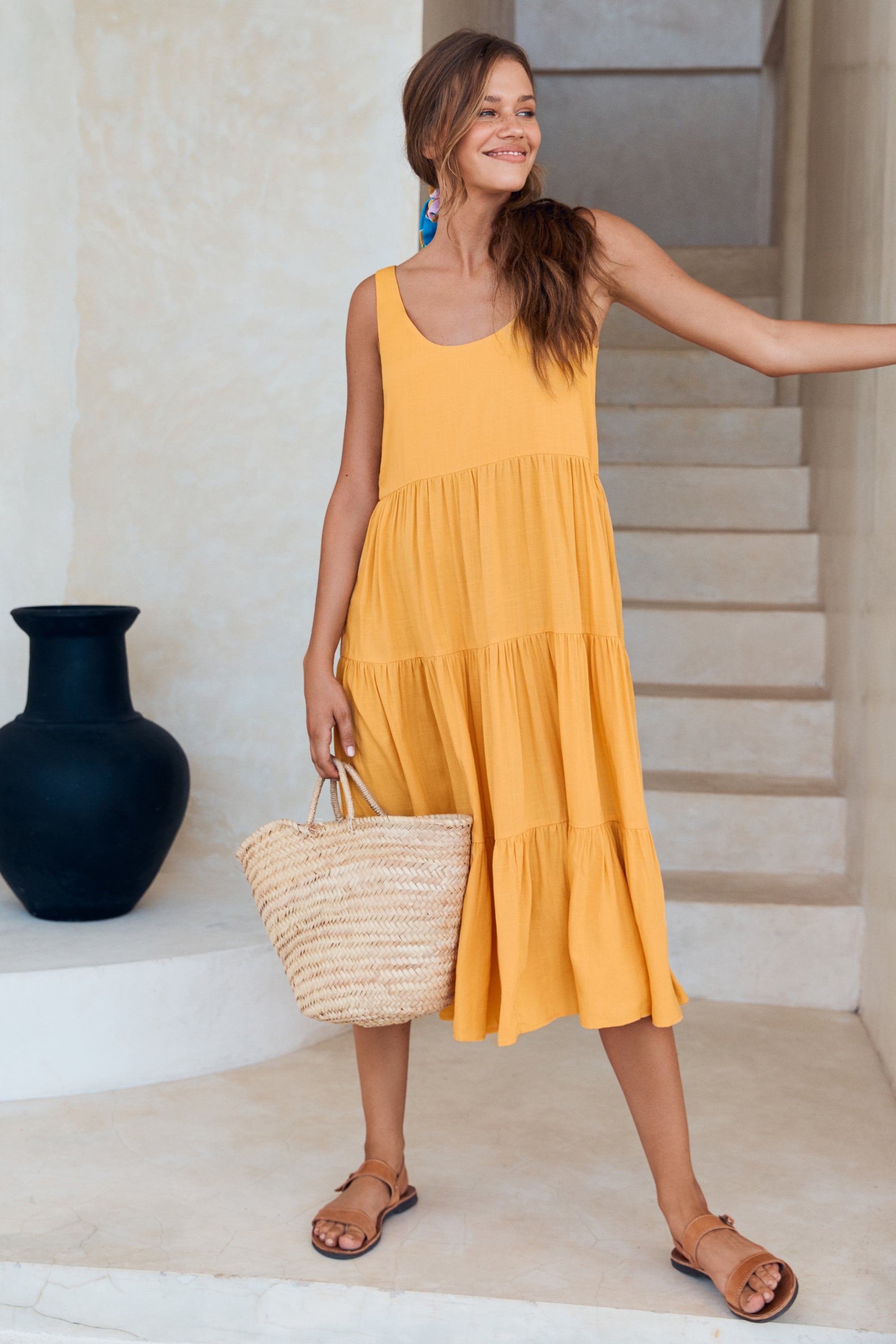 Winifred Midi Dress In Mango