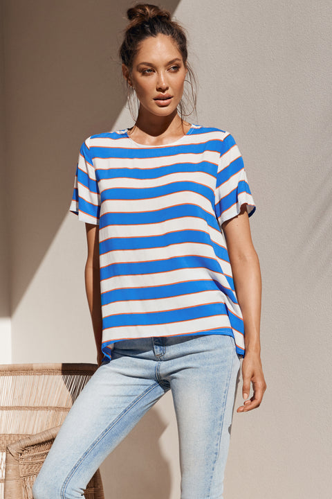 Daisy Top In Aegean Stripe