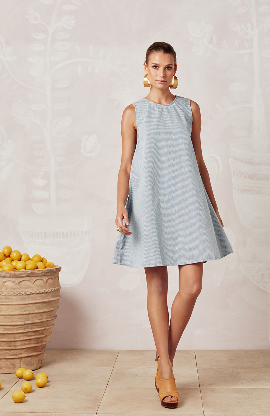 STRIPED DENIM SLEEVELESS TINA DRESS - DRESSES - Mister Zimi