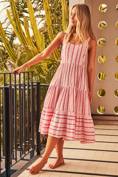 Winifred Midi Dress In Pink Stripe
