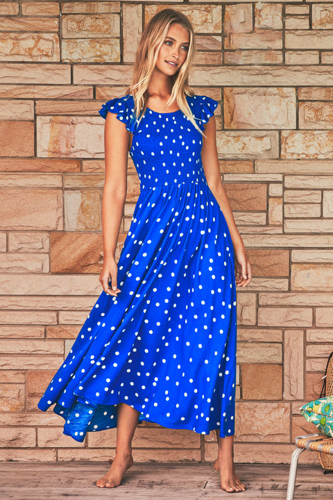 Abbie Dress In Cobalt Spot