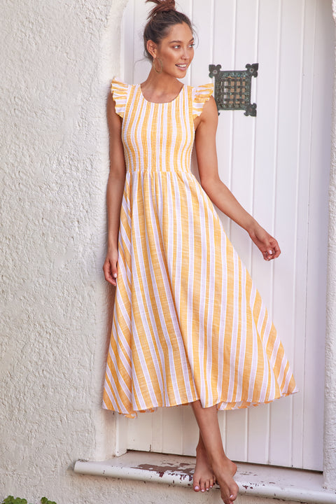 Abbie Dress In Mustard Stripe