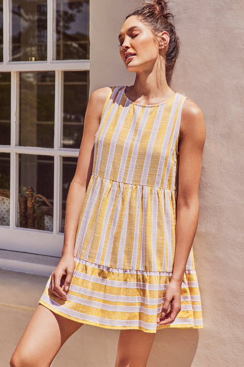 Olivia Dress In Mustard Stripe