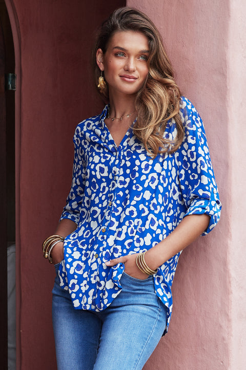 Phoebe Shirt In Blue Leopard