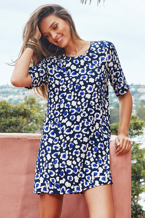 Tina Dress In Navy Leopard