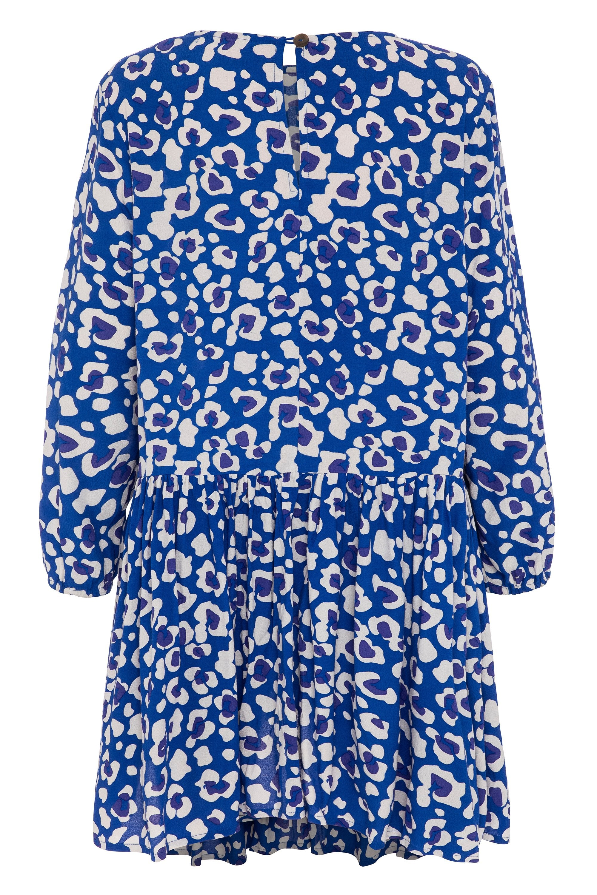 Elsa Dress In Blue Leopard
