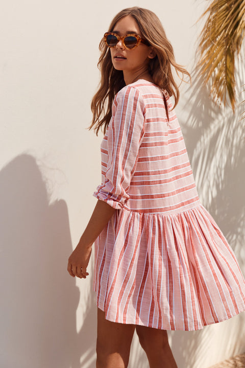 Elsa Dress In Pink Stripe