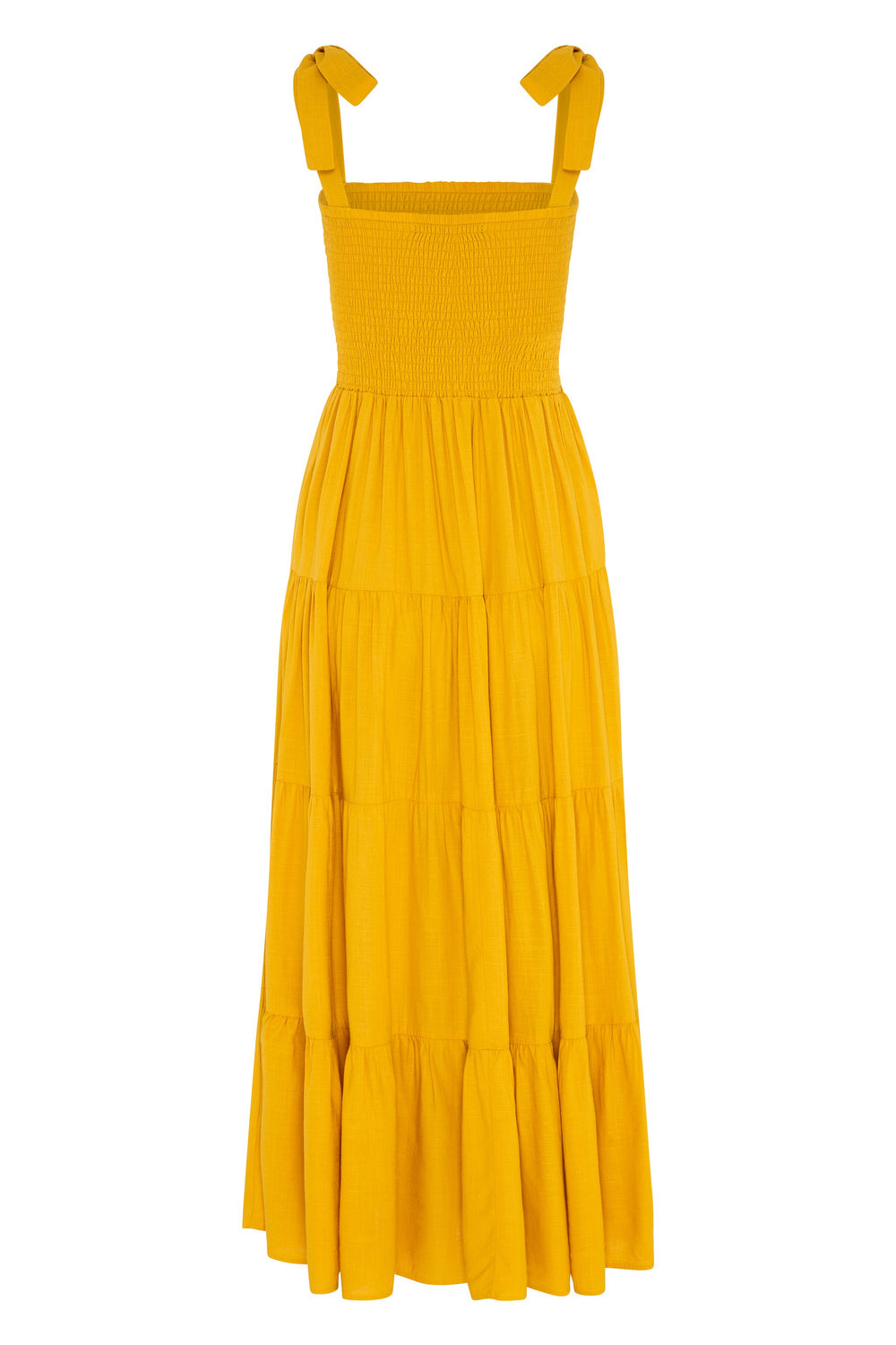 Savannah Tie Dress In Mustard