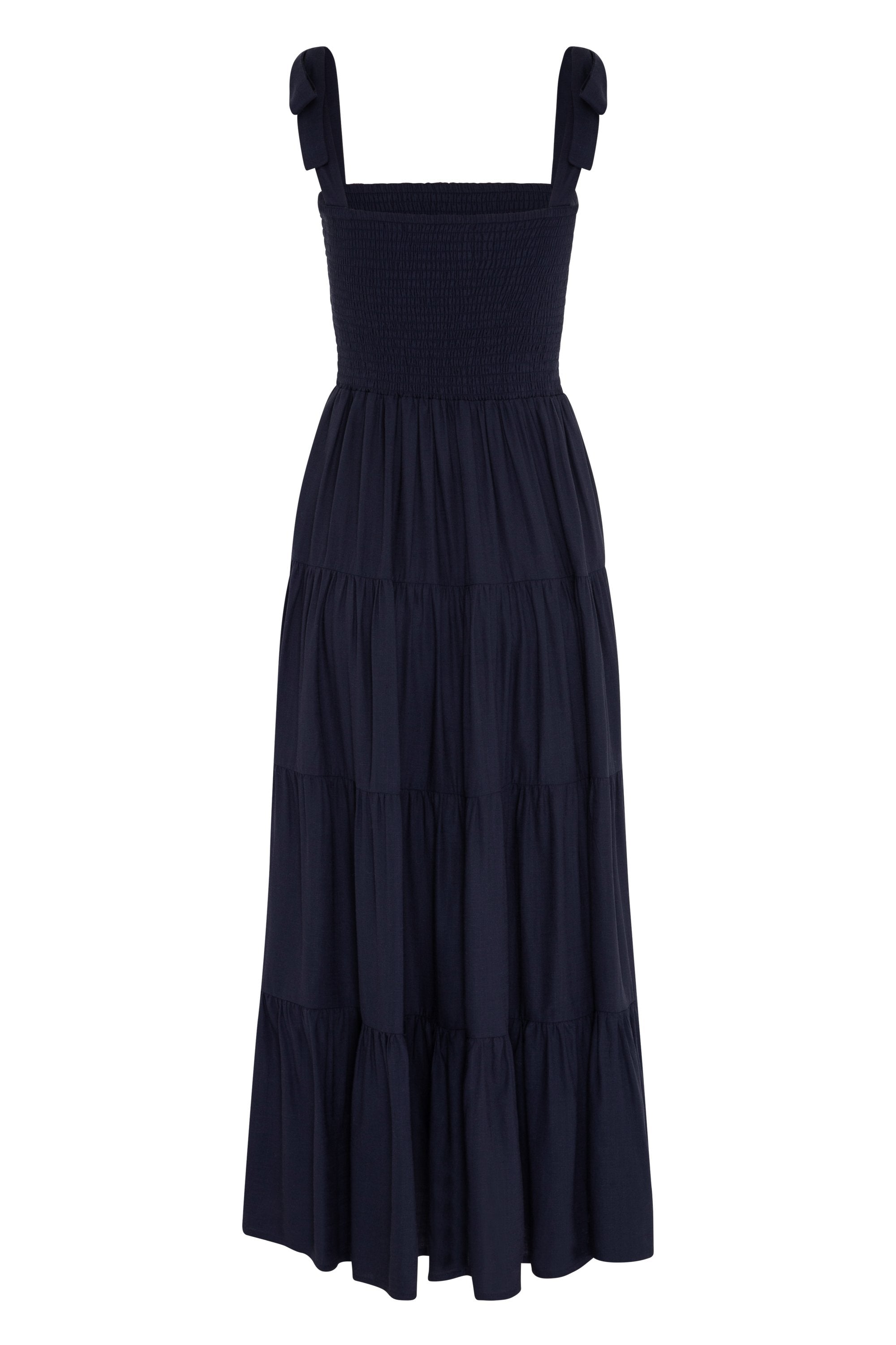 Savannah Tie Dress In Navy