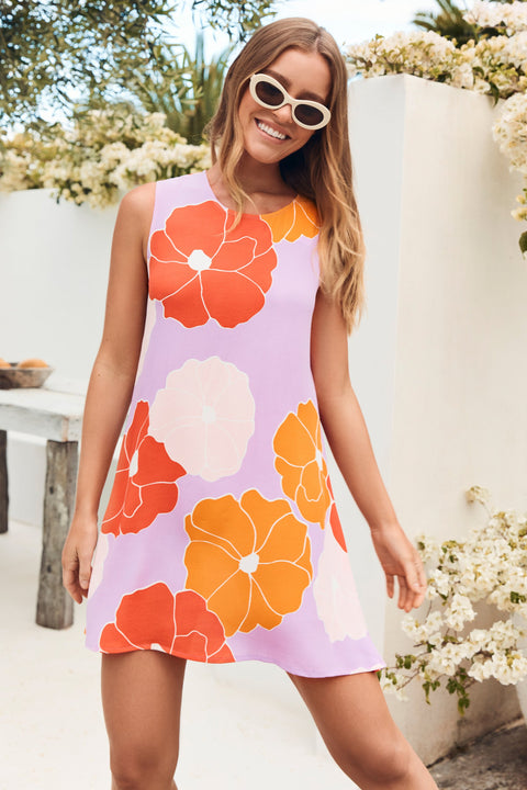 Sleeveless Tina Dress In Flores