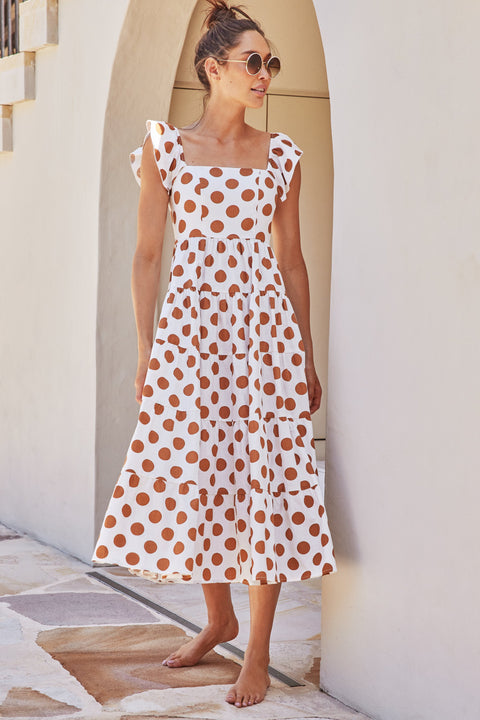 Gabrielle Dress In Tan Spot