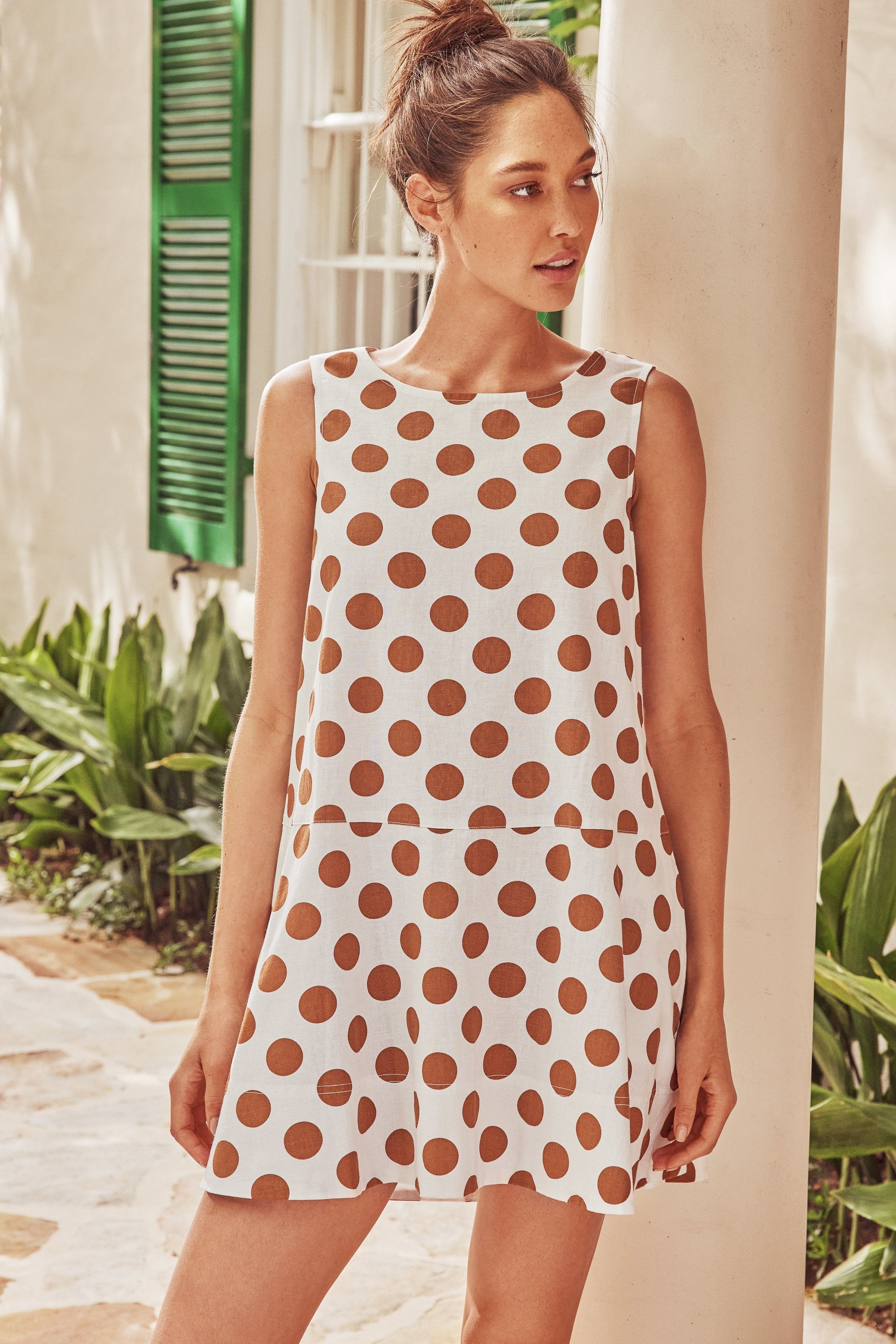 Lulu Swing Dress In Tan Spot