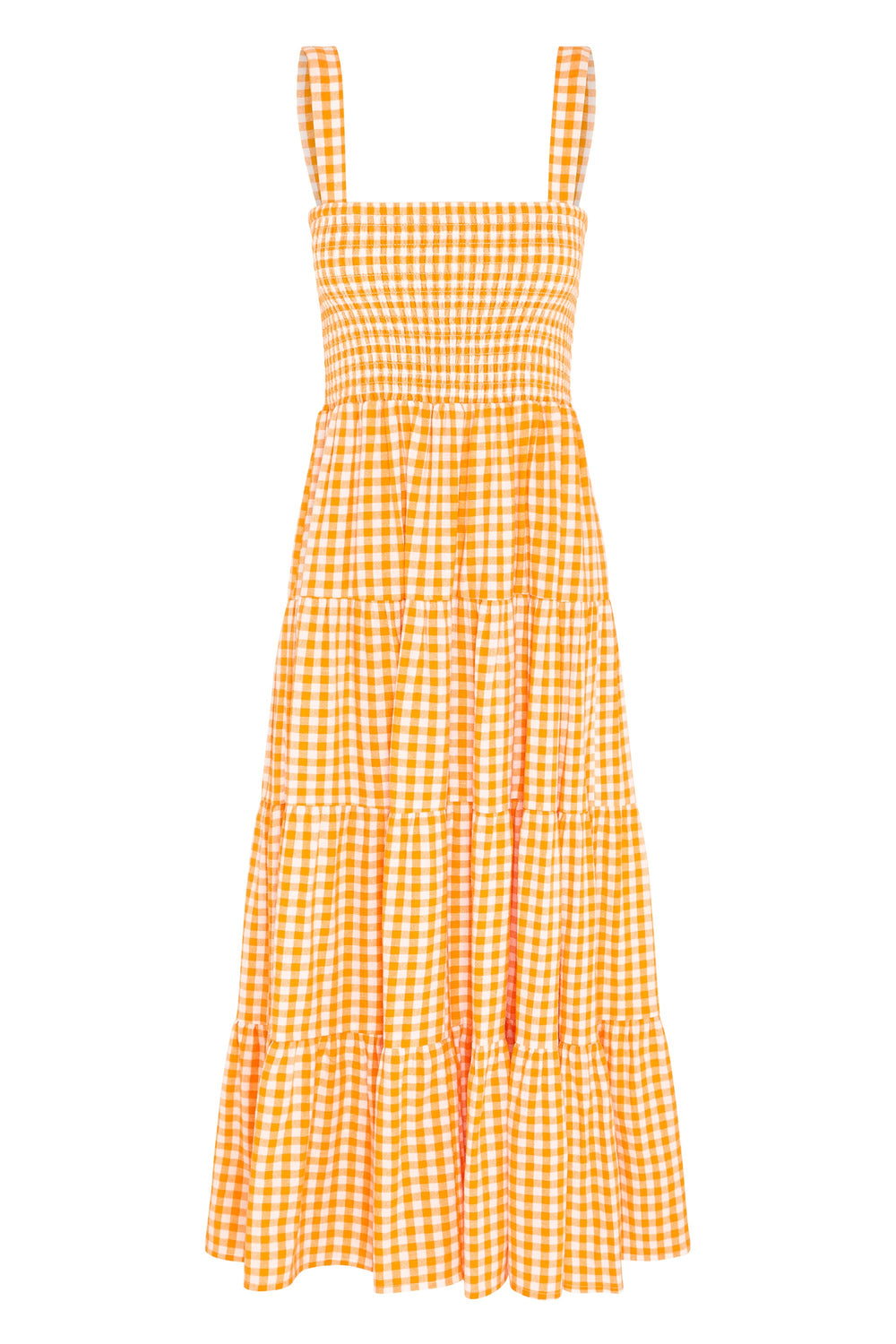 Savannah Dress In Apricot Gingham