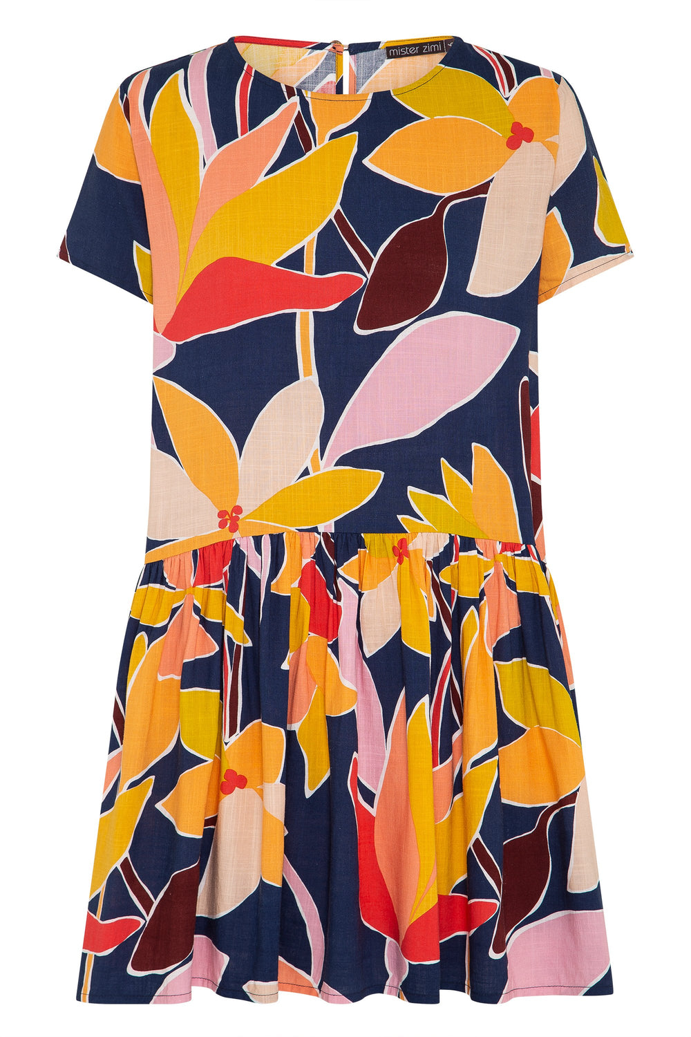 Summer Elsa Dress In Tropical Navy
