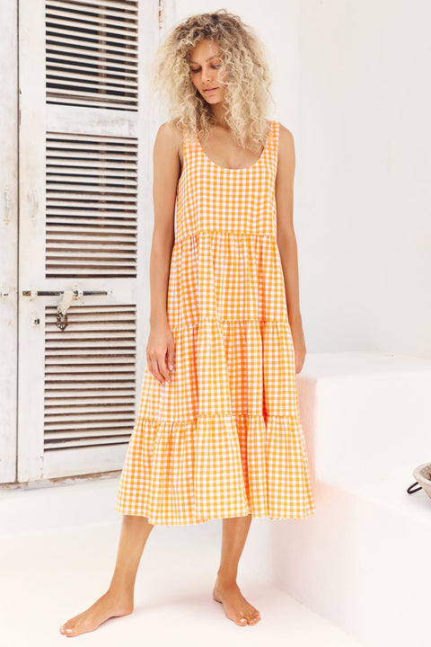 Winifred Midi Dress In Apricot Gingham