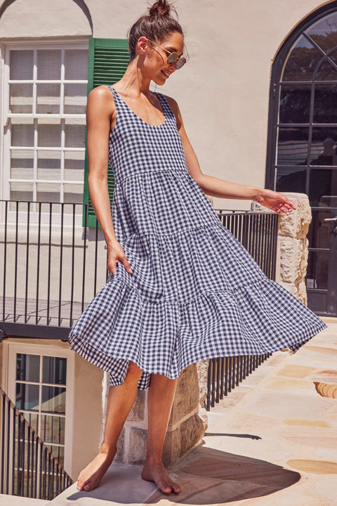 Winifred Midi Dress In Navy Gingham
