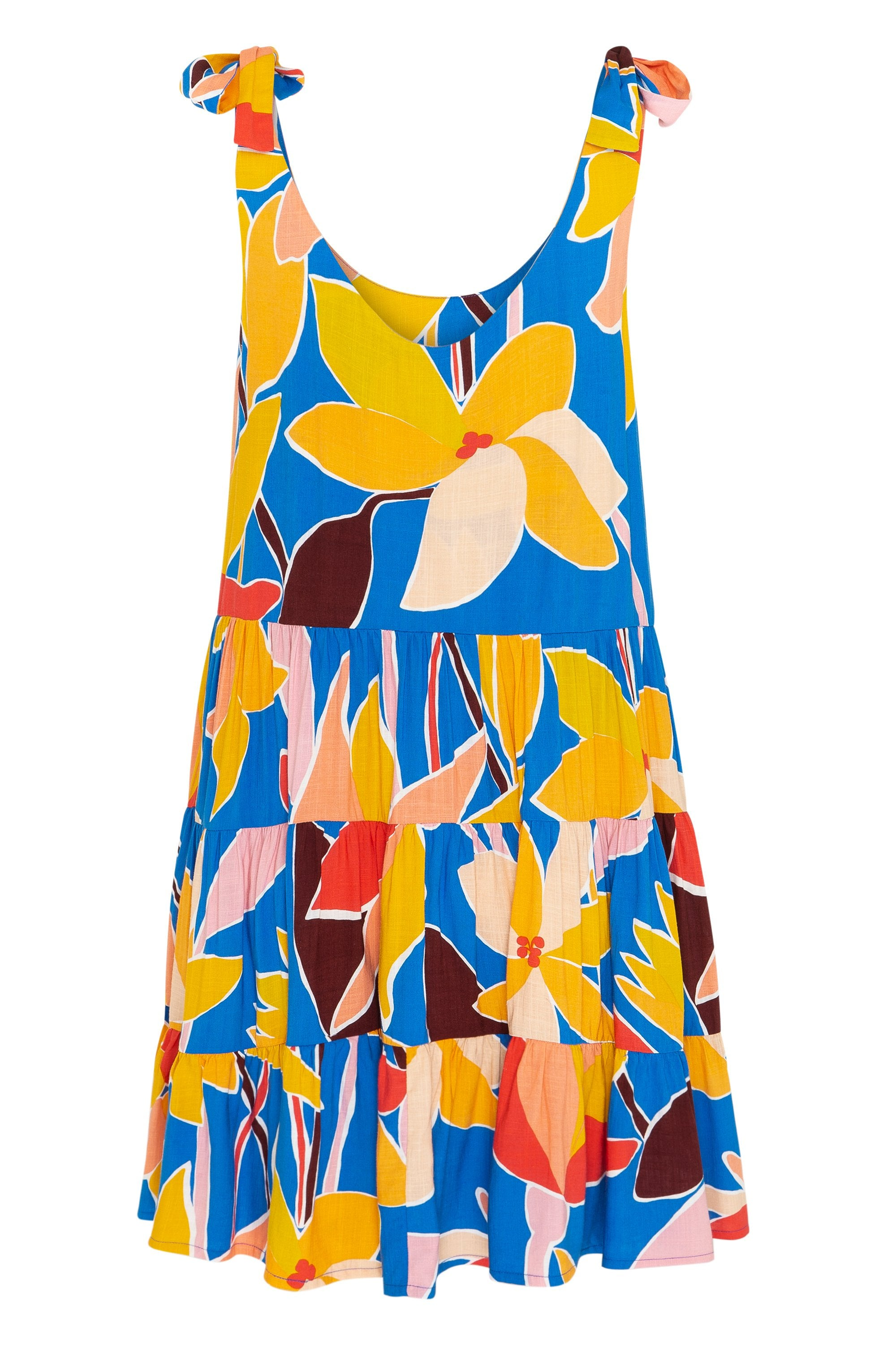 Winifred Tie Dress In Tropical Blue