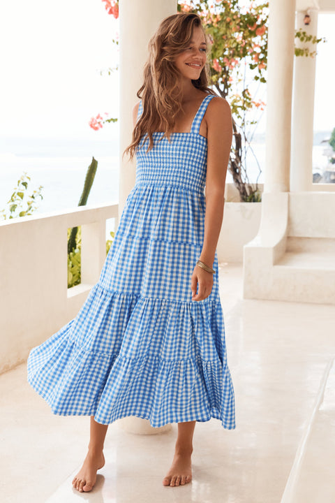 Savannah Dress In Blue Gingham