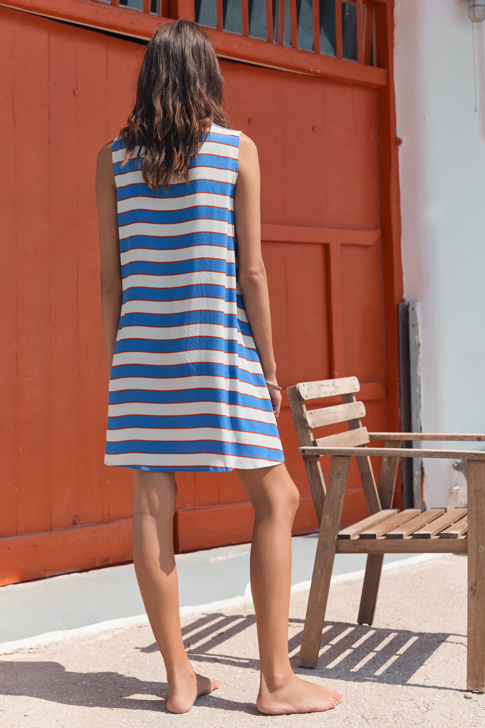 Sleeveless Tina Dress In Aegean Stripe