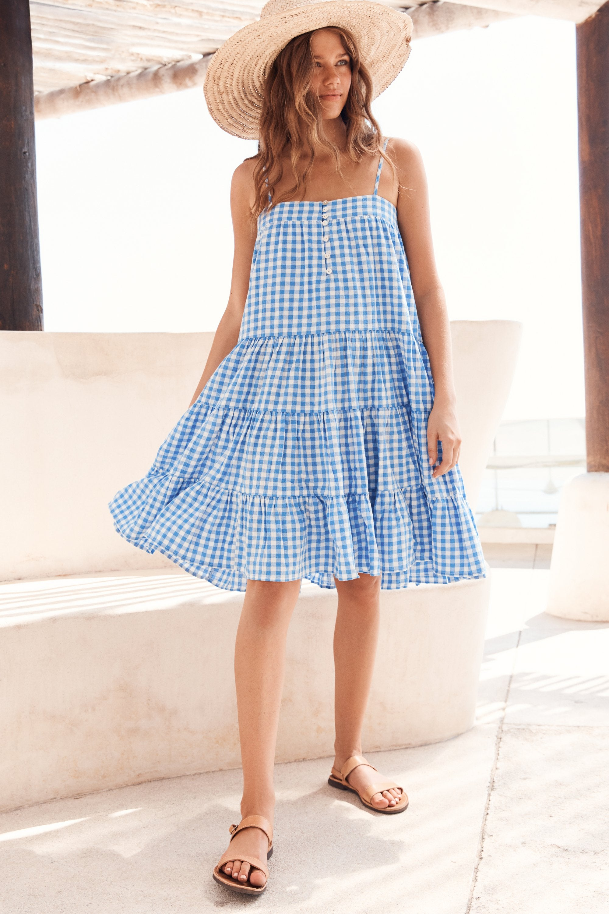 Sofia Dress In Blue Gingham