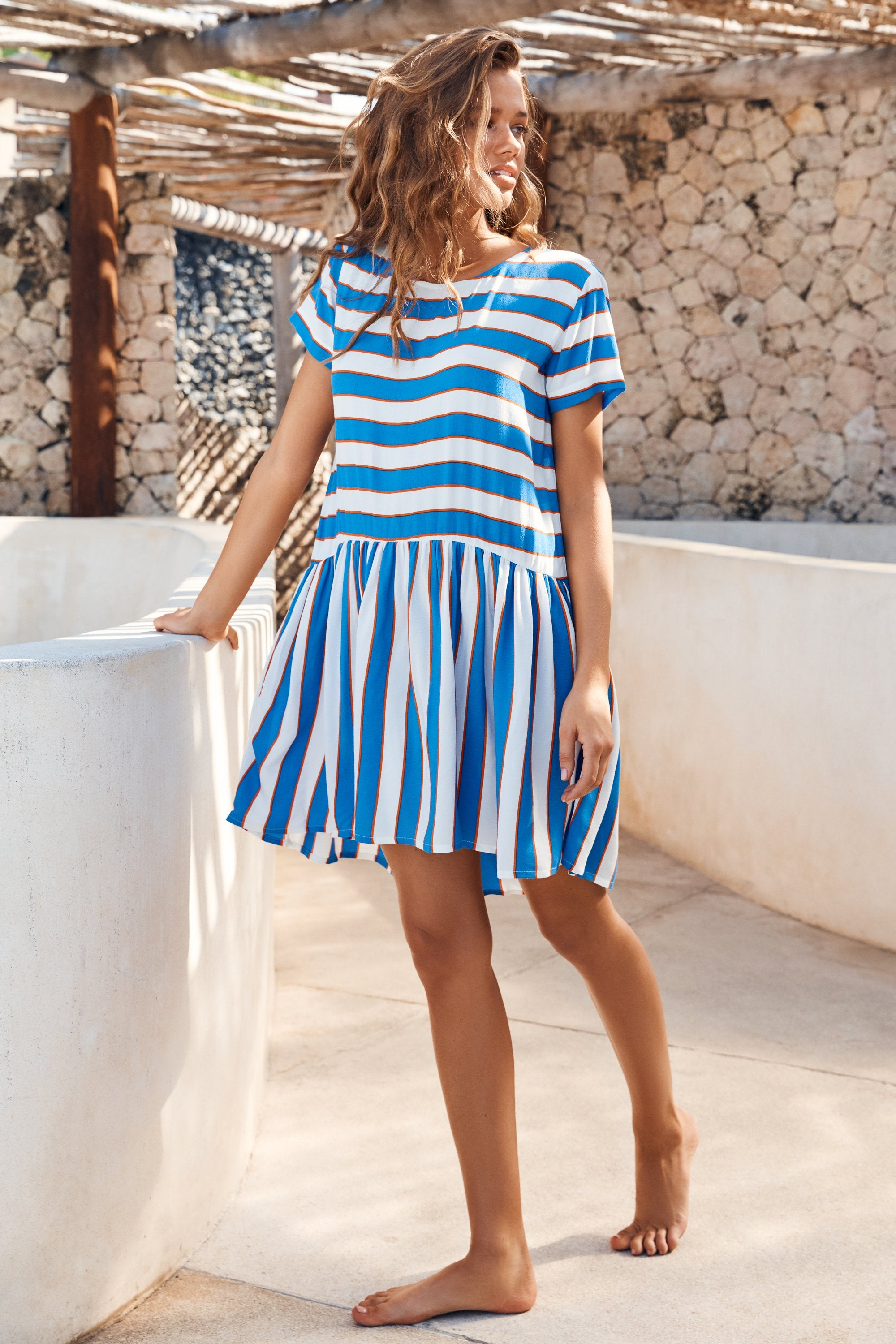 Summer Elsa Dress In Aegean Stripe