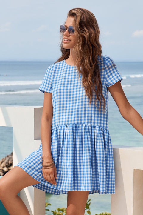 Summer Elsa Dress In Blue Gingham