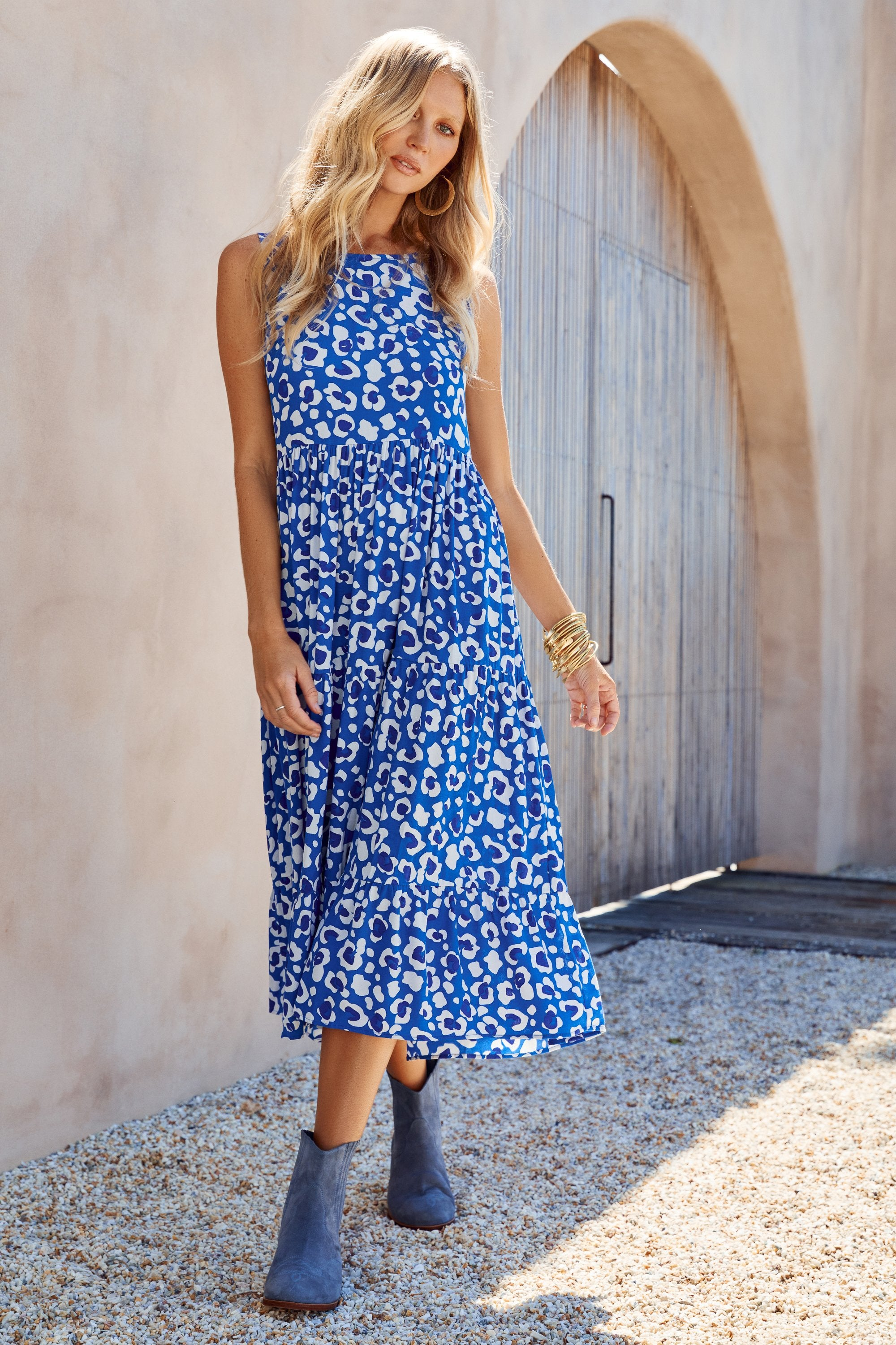 Olivia Midi Dress In Blue Leopard