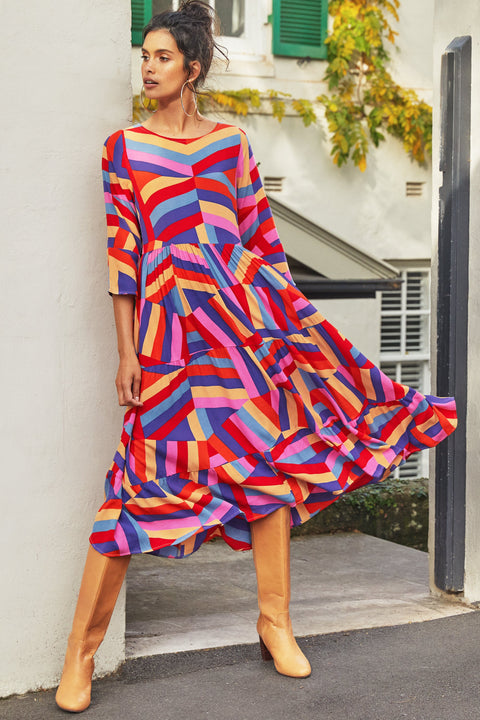 Winter Olivia Midi Dress In Harlequin