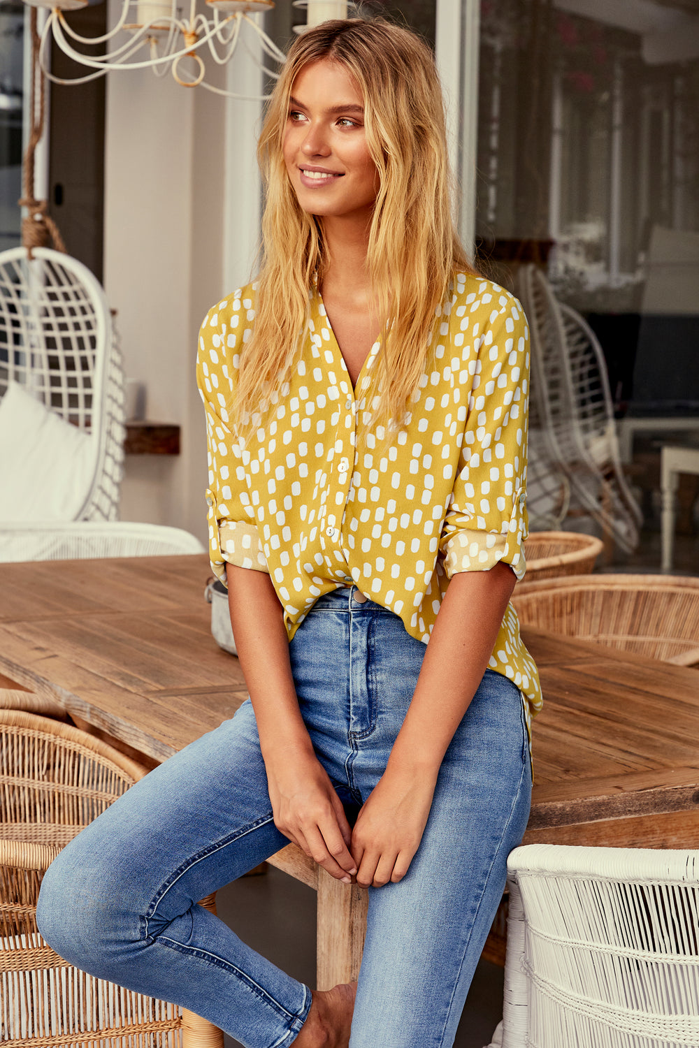 Phoebe Shirt In Chartreuse