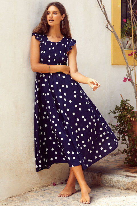 Abbie Linen Dress In Navy Spot