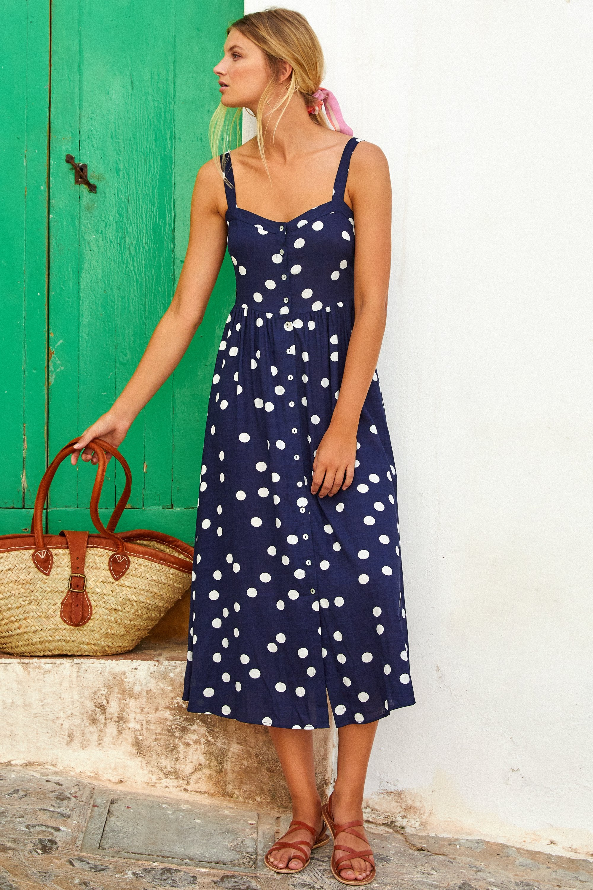 Ruby Linen Dress In Navy Spot