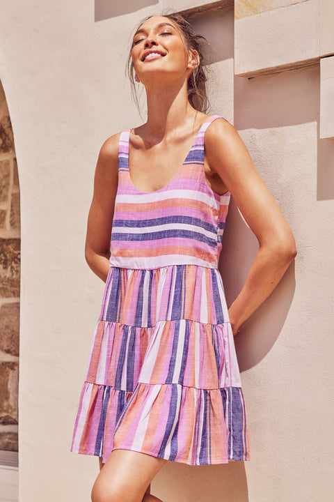 Winifred Dress In Pink And Navy Stripe