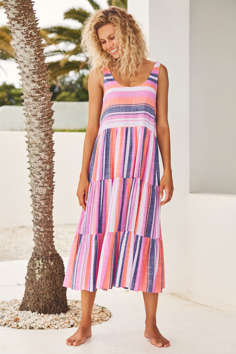 Winifred Midi Dress In Pink And Navy Stripe
