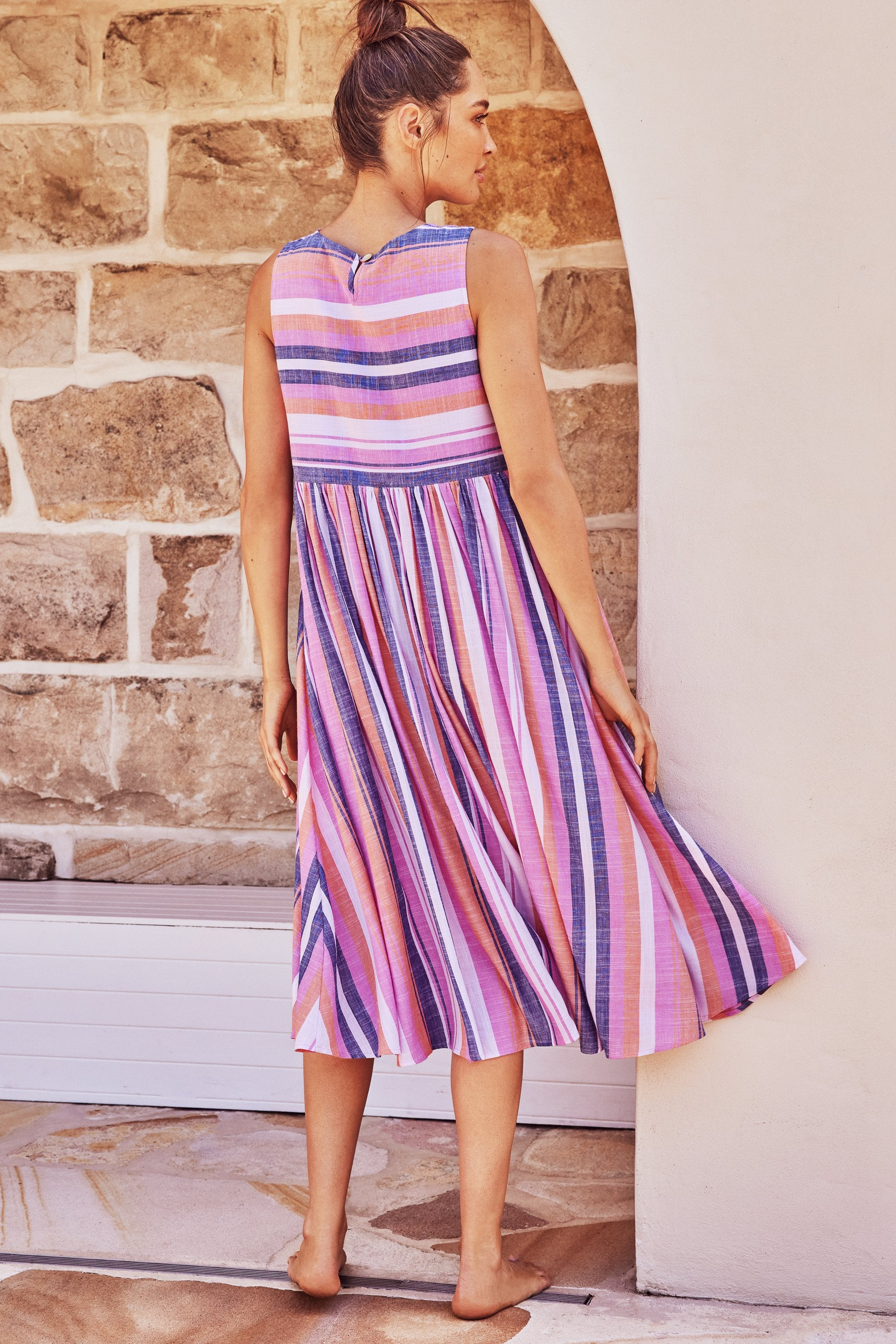 Zoe Dress In Pink And Navy Stripe