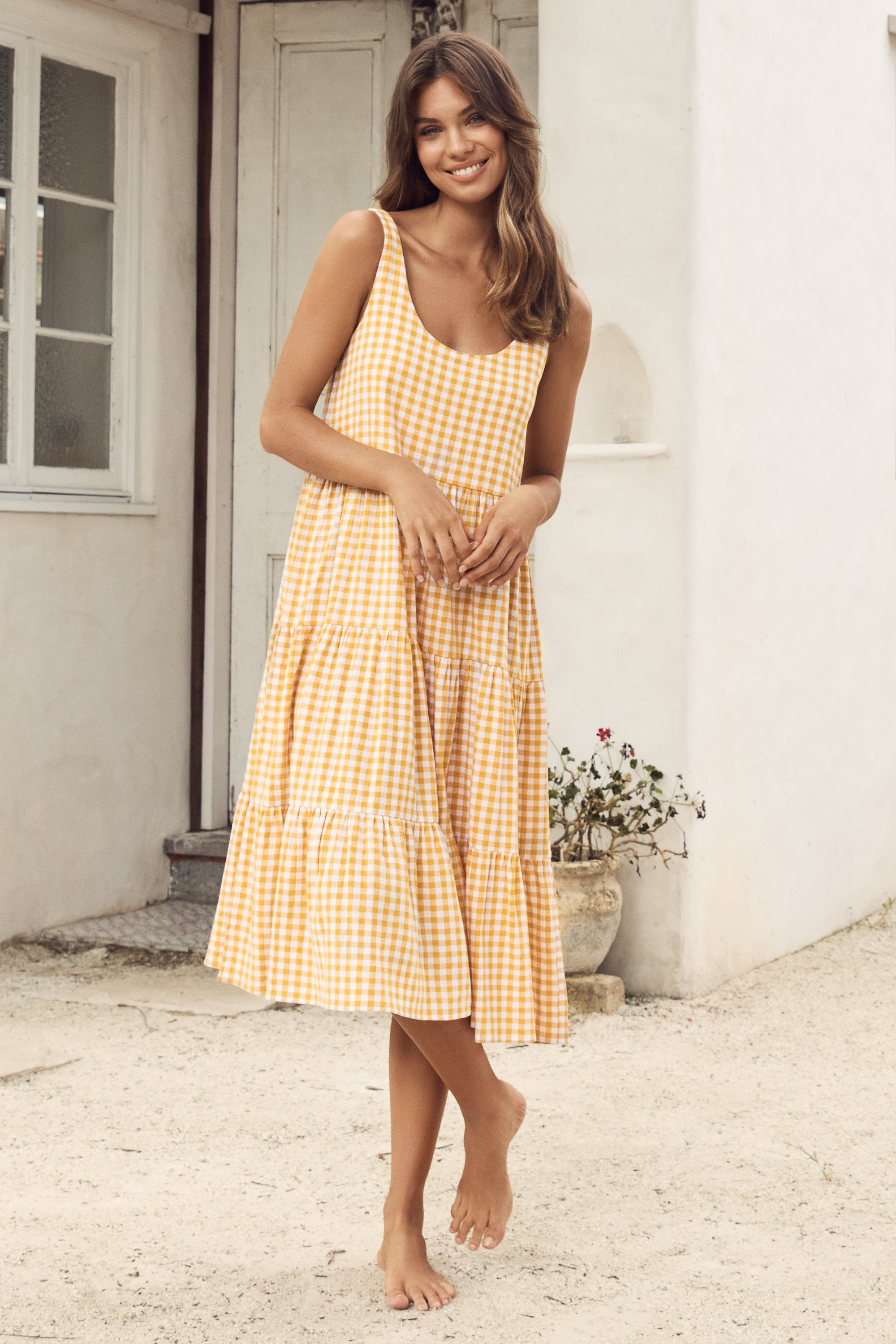 Winifred Midi Dress In Mustard Gingham