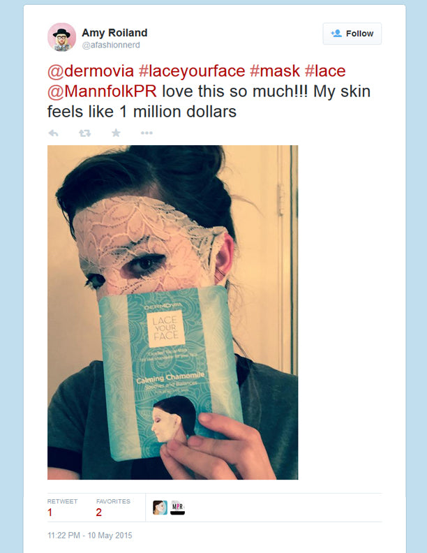 Amy Roiland A Fashion Nerd mentions Dermovia Lace Your Face Mask