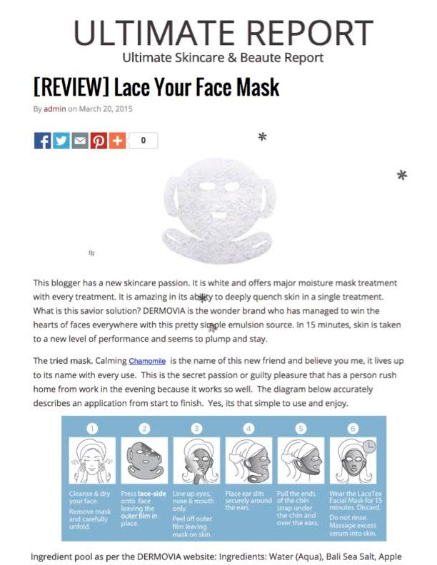 Ultimate Skincare and Beaute Report features Dermovia Lace Your Face Mask