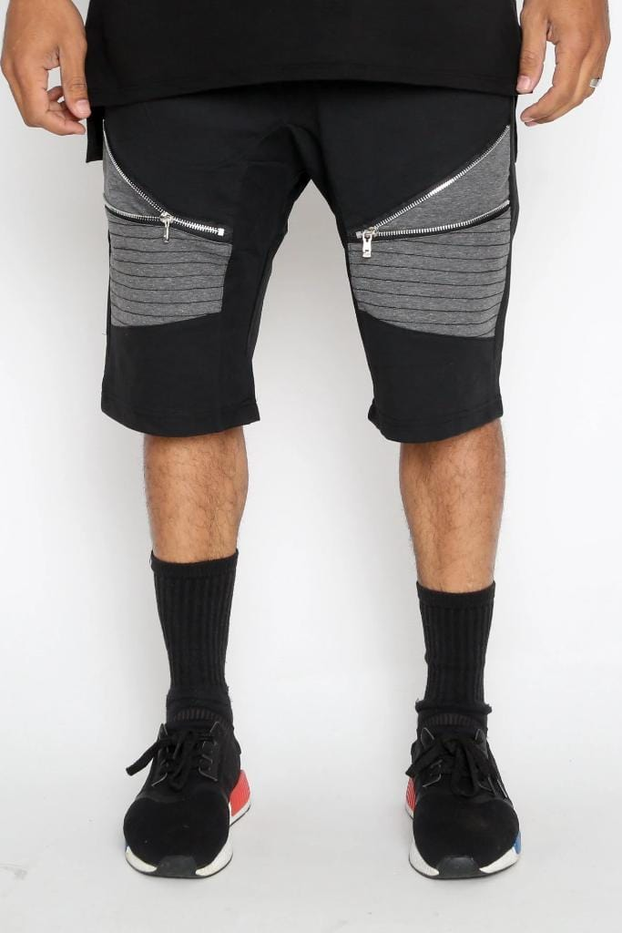 Gray Moto Shorts - Men | Nigel Mark