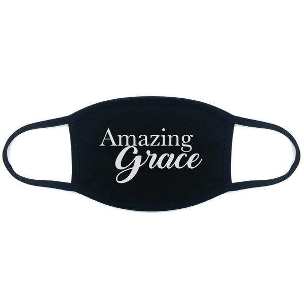 100% Cotton Made In The USA Amazing Grace Black Fabric Face Mask - BEAUTY & WELLNESS - NIGEL MARK