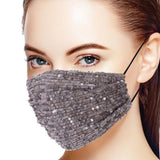 3d Sequin Fashion Facemask - Grey/Silver - BEAUTY & WELLNESS - NIGEL MARK