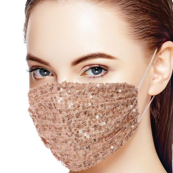 3d Sequin Fashion Facemask - Rose Gold - BEAUTY & WELLNESS - NIGEL MARK