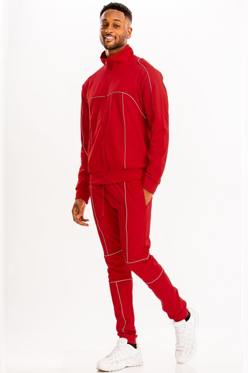 3M Reflective Pipe Track Set - Red - MEN ACTIVEWEAR - NIGEL MARK