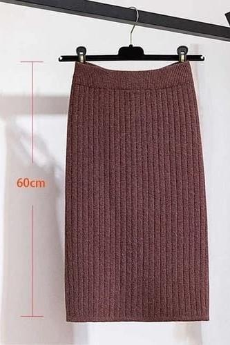60 80CM Elastic Band Warm Knitted Straight Skirts - WOMEN BOTTOMS - NIGEL MARK