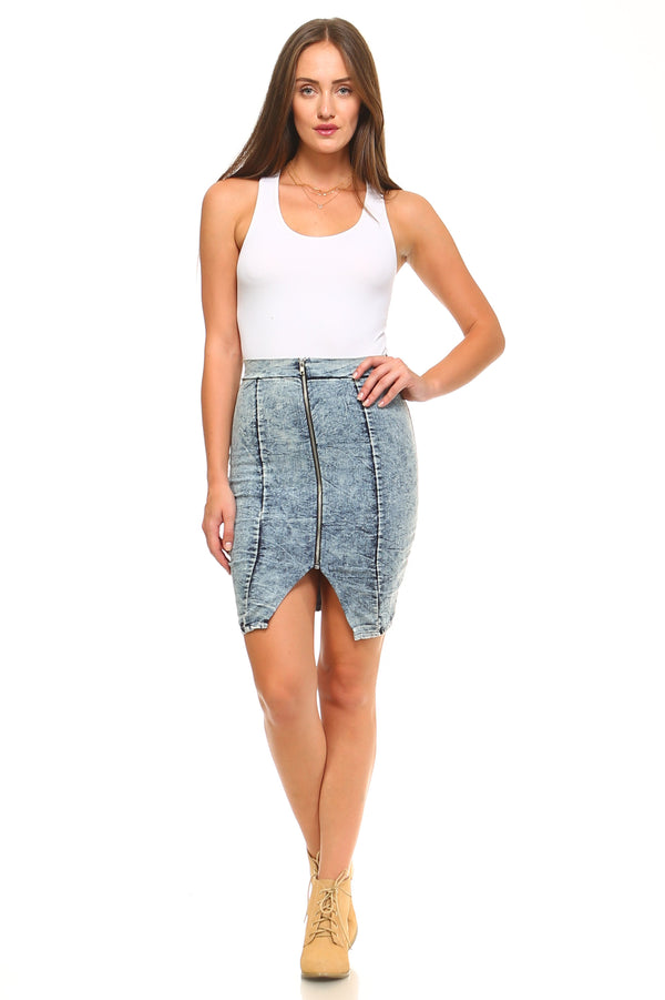 Front Zipper Denim Skirt