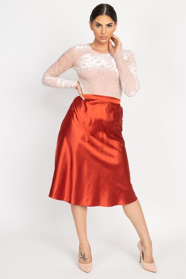 A-line Satin Midi Skirt - Brick - WOMEN BOTTOMS - NIGEL MARK
