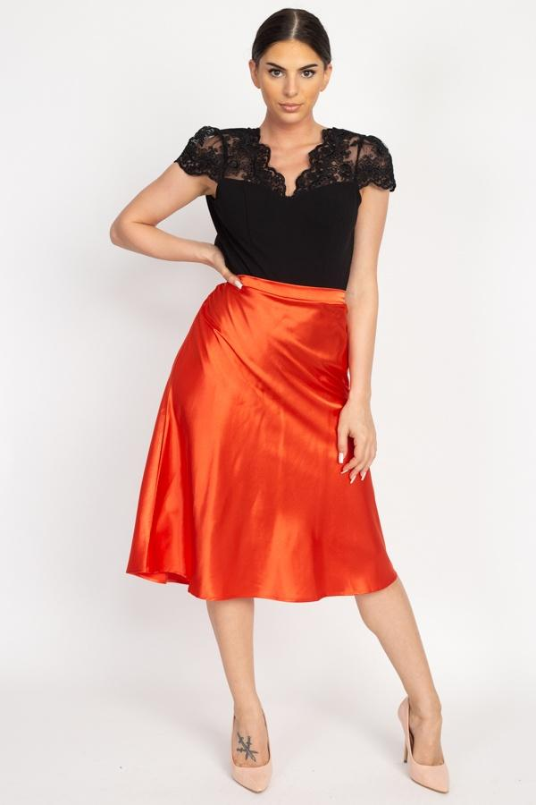 A-line Satin Midi Skirt - Burnt Orange - WOMEN BOTTOMS - NIGEL MARK