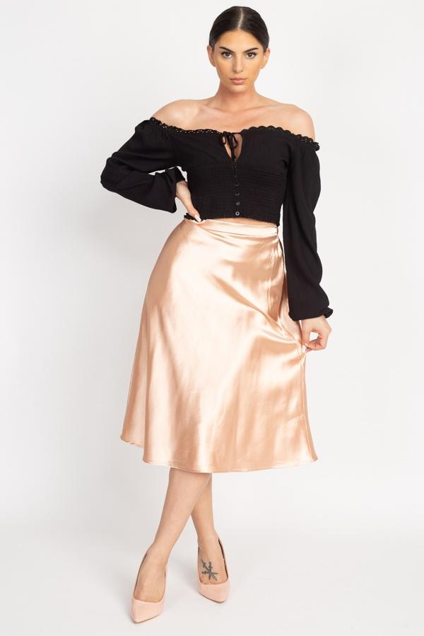 A-line Satin Midi Skirt - Champagne - WOMEN BOTTOMS - NIGEL MARK